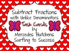 Subtract Fractions with Unlike Denominators Task Cards Fraction Games, Fraction Activities, Kindergarten Math Games, Adding And Subtracting, Writing Numbers, Addition And Subtraction, Math Teacher, Fractions, Task Cards