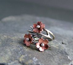 Cherry Blossom Branch Adjustable Ring, Spring Jewelry, Plum Blossom, 1 ring  MADE to ORDER, Twig Ring, Branch Ring, POINTED petals. $35.00, via Etsy.