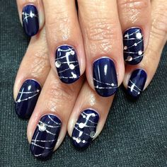 Don 't like the jewels, but like the glittery lines and the GREAT blue color!- nail design