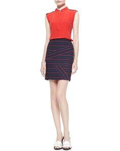 Striped Side-Zip Knit Skirt