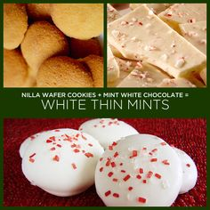 White Chocolate Thin Mints  TWO INGREDIENT THIN MINTS! So stop reading this post and go to the store and buy yourself some Vanilla Wafer cookies and some mint white chocolate. Dip and done.     A few sprinkles give these a Christmas feel and would be a great addition to any holiday cookie tray. I like to think of these as White Christmas Thin Mints. :)