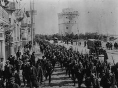 An poster sized print, approx (other products available) - circa Allied troops marching down the Boulevard de la Victoire in Salonika. (Photo by Hulton Archive/Getty Images) - Image supplied by Fine Art Storehouse - Poster printed in the USA Fine Art Prints, Canvas Prints, Framed Prints, The Great Fire, Troops, Soldiers, Heritage Image, Photographic Prints, First World