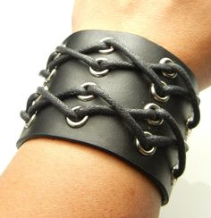 TEW605 Cross String Black Leather Short Bracer Arm Armor Cuff Wristband Bracelet #Unbranded