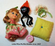 Vintage Liddle Kiddle Kiddles Little Miss Middle Muffet with Spider and Accessories
