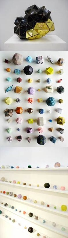 These beautiful paper pieces were crafted by London based artist Lydia Shirreff.  Her love of minerals and astronomy are her biggest inspirations for her pieces.  We love her use of playful geometry and color in her pieces.