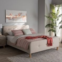 Shop for Mid-Century Fabric Upholstered Platform Bed by Baxton Studio. Get free shipping at Overstock.com - Your Online Furniture Outlet Store! Get 5% in rewards with Club O! - 20820618