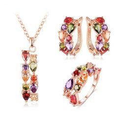 Arlecchino - Colorful CZ Diamond Rose Gold Pendant & Earrings & Ring Set
