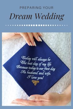 """Navy Wedding Gift for Groom from Bride on Wedding day - Groom Handkerchief ♥ SIZE: 12'"""" x 12"""" (30 x 30 cm) ♥ MATERIALS: 100% Cotton – Batista ♥ COLOR: navy/purple/burgundy handkerchief, white embroidery ♥ TEXT is embroidered NOT printed ♥ The perfect embroidered handkerchief includes the following sentiment: Today will always be The best day of my life Because today is our first day As husband and wife. I love you! *** ♥ IF YOU NEED IT FAST - choose EXTRA SHIPPING in the cart Wedding Gifts For Parents, Wedding Gifts For Groom, Best Wedding Gifts, Gifts For Husband, Wedding Favors, Cute Wedding Ideas, Wedding Trends, Wedding Inspiration, Dream Wedding"""