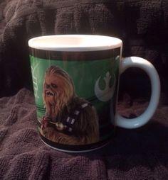 Star Wars Yoda Chewbacca Galerie Coffee Mug Cup 2007 Lucas Films Green 10 Oz.