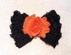 Large Shabby Chiffon Rose Bow on Large by ItsEspecially4U on Etsy