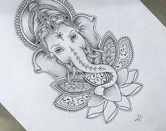 Ganesh Wall Decal elephant decal Ganesh Vinyl Sticker Decals Art wall decal Indian Buddha Yoga Fatima, Mandala ,Ganesha ,Lotus Namaste Ganesha in Lotus Mandala Buddha Tattoos, Body Art Tattoos, Tattoo Drawings, Sleeve Tattoos, Arm Tattoos, Buddha Lotus Tattoo, Tattos, Ganesh Tattoo, Hand Tattoo