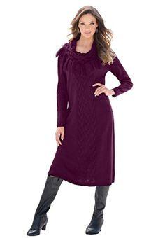 Fashion Bug Plus Size Cowl Neck Sweater Dress www.fashionbug.us #plussize 1X 2X 3X 4X 5X 6X
