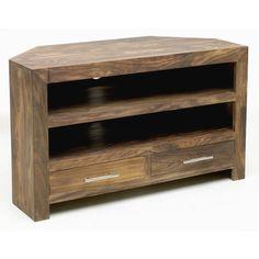 Santana Reclaimed Oak Corner Tv Cabinet With 1 Drawer 2 Shelves