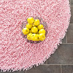 @Overstock - Hand-woven Bliss Pink Shag Rug (4' Round) - This hand-woven acrylic shag rug offers luxurious comfort and style. High-density acrylic pile features a pink background and provides one of the most plush feels available in a rug.    http://www.overstock.com/Home-Garden/Hand-woven-Bliss-Pink-Shag-Rug-4-Round/5665400/product.html?CID=214117  $69.29