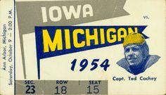 Vintage Iowa football poster made from an authentic 1954 Michigan vs. Iowa football ticket. http://www.shop.47straightposters.com/1954-Iowa-vs-Michigan-54IAMIch.htm