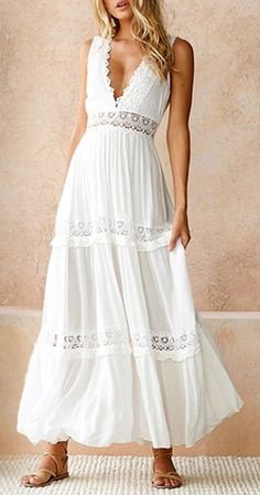 New white lace sexy V neck long backless cotton maxi women dress spring summer - Dresses Maxi Dress Summer, Long Summer Dresses, White Dress Summer, Trendy Dresses, Spring Dresses, Casual Dresses, Dress Long, Bohemian Summer Dresses, Dress Prom