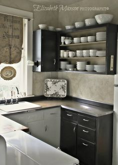 Elizabeth Maxson Photography - open shelving has helped me to stay organized in my tiny kitchen Kitchen Nook, Kitchen Shelves, Kitchen Pantry, Kitchen Small, Kitchen Reno, Kitchen Ideas, Small U Shaped Kitchens, Home Kitchens, Tiny Kitchens