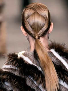A hair idea to outdo all hair ideas: the intricate, crisscrossed ponytail from Fendi's spring fall 2014 show #30DaysofGreatHair