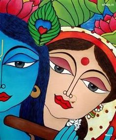 Radha And Krishna Paper Art Wallpaper Krishna Painting, Krishna Art, Radhe Krishna, Lord Krishna, Shiva, Madhubani Art, Madhubani Painting, Art Premier, Indian Folk Art
