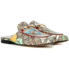 Gucci Tian Princetown Coated Canvas Slippers ($695) ❤ liked on Polyvore featuring shoes, slippers and multicoloured