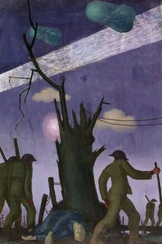 """""""Evening after a push"""" Colin Gill. English artist who painted murals and portraits and is most noted for the work he produced as a war artist in Mural Painting, Painting & Drawing, Ww1 Art, Ww1 History, Manchester Art, Civil War Photos, World War One, Art Uk, Military Art"""