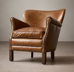 Restoration Hardware(レストレーションハードウェア)レザーチェア「Professor's Leather Chair With Nailheads」Italian Brompton Chestnut