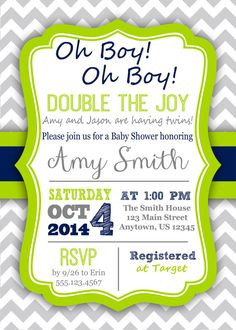 PRINTABLE Gray Grey Chevron Twin Baby Shower Invitation, Twins, Boy - Custom Gray Chevron Navy Blue Lime Green DIY Digital Printable