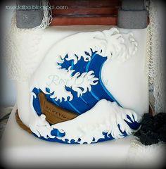 ROSE D' ALBA cake designer La grande onda di Hokusai, in pasta di zucchero