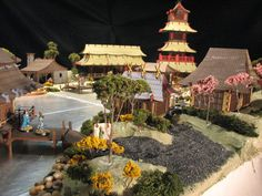 East Asian Village for Gamers Japanese Buildings, Japanese Architecture, Game Terrain, Japanese Models, Scenery, Patio, Asian, Table Decorations, Outdoor Decor