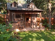 What a cute rustic backyard retreat/shed!