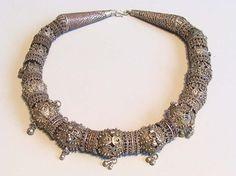 Vintage Yemen silver necklace.