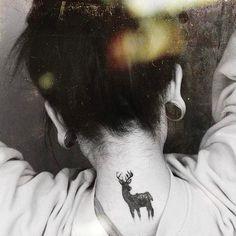 Small neck tattoo - Christmas Reindeer tattoo