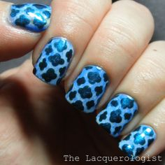 The Lacquerologist: The Digit-al Dozen Does Monochrome #2: Blue Stained Glass Nails!