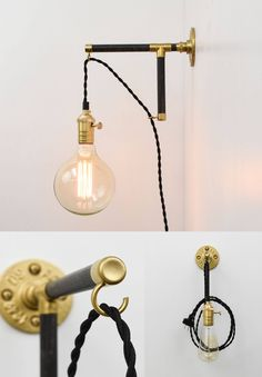 Custom Plug In Wall Sconce Modern Wood Industrial Pipe Brass Black White - Plug wall light fixture with switch LED White Glass Globe Rustic Wall Sconces, Modern Sconces, Candle Wall Sconces, Plug In Pendant Light, Modern Pendant Light, Pendant Lights, Decoracion Low Cost, Wall Light With Switch, Plug In Wall Sconce