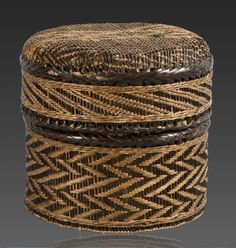 Africa | Old prestige basket from the Kongo Kingdom of DR Congo or Angola | ca. 19th century | Fiber and wood; twill plaiting basketry | They were given as gifts to notables and foreigners in the Congo as well as used by the wealthy and elite