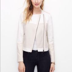 ❤️ SALE!  | NWT Ann Taylor Moto Jacket Sold out online. BRAND NEW W. TAGS. Ann Taylor white moto/ motorcycle style jacket. Size 6 (see 3rd photograph). Cotton/ linen and spandex blend with faux leather details and trim on cuffs, epaulets, neckline, pockets and zippers. Zipper detail on both cuffs. Two zippered front pockets. BRAND NEW. Measurements: 35 in bust, 30.75 in sleeve, and 27.5 in waist. All tags attached. Purchased it and never wore it. Perfect condition. Smoke FREE home…