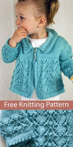 Free Baby Sweater Knitting Patterns, Knitted Baby Cardigan, Free Baby Patterns, Knit Baby Sweaters, Knitted Baby Clothes, Knitting For Kids, Easy Knitting, Baby Knitting Patterns Free Newborn, Baby Girl Cardigans