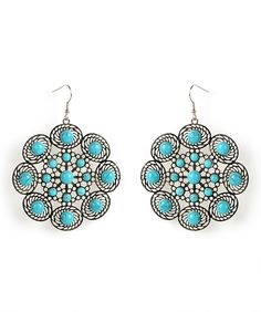 Silver and Turquoise filigree earrings / Rs.649