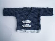 Brassière bébé garçon, toute douce, pure laine mérinos, bleu marine/gris perle : Mode Bébé par bbgreen