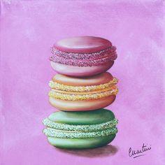 """painting """" 3 macarons"""" de Catherine Martini"""