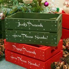 Cajas de madera pintadas para Navidad. #manualidadesnavideñas #estiloydeco #navidad #decoracionnavideña #cajasdemadera