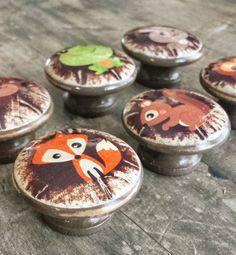 "Distressed Woodland Knobs, Animal Drawer Pulls Set of 6, 1.5"" Handmade Design Cabinet Pull Handles, Dresser Knob Pull, Customized Orders $30.00 #woodland #knobs #drawerpulls"