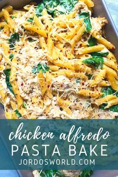Simple, nutritious, delicious—this Chicken Alfredo Pasta Bake has it all! It should be called ALLfredo... Alfredo Pasta Bake, Cheesy Pasta Bake, Chicken Pasta Bake, Oven Baked Chicken, Easy Oven Recipes, Healthy Dinner Recipes, Healthy Chicken Alfredo, Protein Pasta, Buffalo Chicken Pasta
