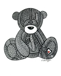 Black and White Zentangle Teddy Bear drawing by LimeGreenArtShop, $15.00