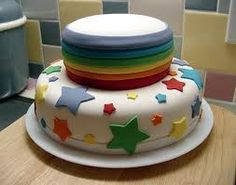 Found on google but couldnt link it...  Rainbow top tier & stars cake