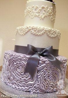 "Design W 0640 | Butter Cream Wedding Cake | 12""+9""+6"" | Serves 100 | Buttercream swirl pattern made to look like fondant ribbon patterns, satin ribbon, scroll piping | Custom Quote"