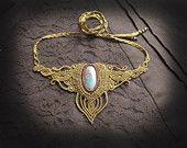 macrame necklace with chrysocolla gemstone. Bohemian, elven jewelry, romantic jewelry, goddess jewelry, shamanic jewelry