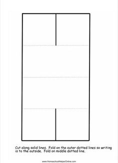 This is a free lapbook template for you to use and customize any way you wish. It features four flaps that meet in the middle like shutters. To assemble: Cut along solid lines. Fold on the outer dotted lines. Fold on the middle dotted line. Lap Book Templates, Solid Line, Dotted Line, Shutters, Homeschool, Middle, Dots, Meet, House Blinds