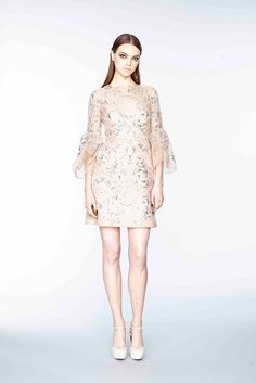 Marchesa Pre-Fall 2015: What an adorable feminine dress! I like the ruffle 3/4 length sleeve and the embroidery with beading.
