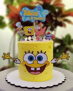 Spongebob Birthday Party, 2 Birthday Cake, Cake Designs For Kids, Whipped Cream Cakes, Character Cakes, Paper Cake, Disney Cakes, Cake Decorating Techniques, Drip Cakes